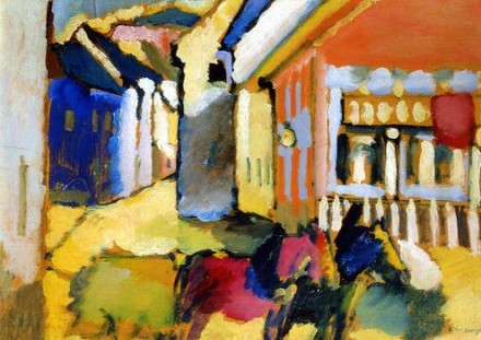 Vasily Kandinsky, Murnau Street with Horse-Drawn Carriage (1909), Neue Gallery