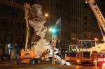 Cranes install an Alice Aycock work on Park Ave, via New York Times