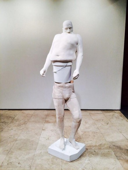 Erwin Wurm, White Bucket (Synthesa)(2013), via Art Observed