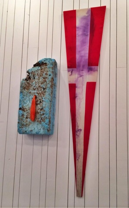Julian Schnabel, Flag Paintings (Installation View), via Art Observed