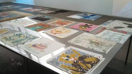 Oscar Murillo, Distribution Center (Installation View), via Art Observed