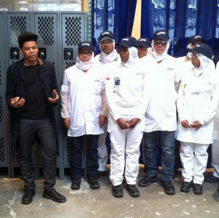 Oscar Murillo with the Colombina Employees, via Art Observed