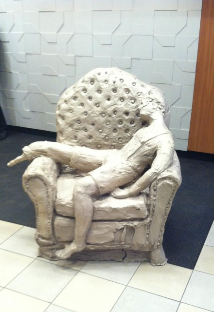 Urs Fischer, boy in chair (2014), via Art Observed