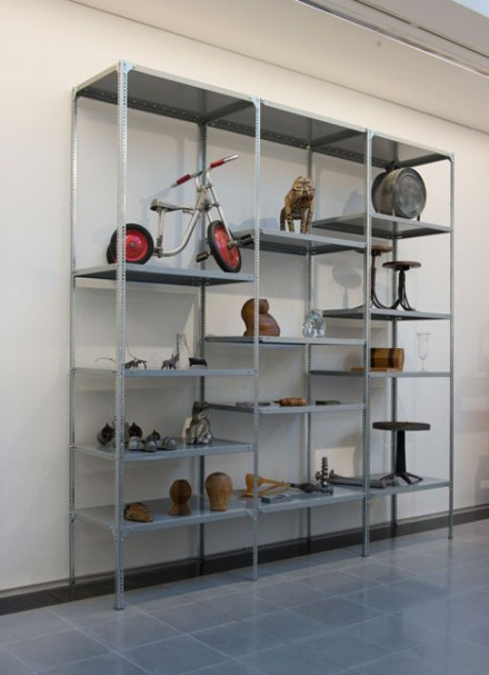 Dexion Shelves with objects chosen by Ron Arad. Courtesy of Serpentine Galleries