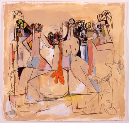George Condo, Tan Orgy Composition (2005), via Xavier Hufkins