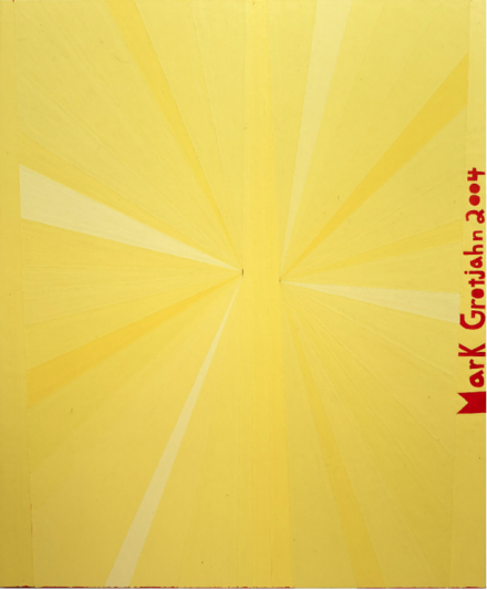 Mark Grotjahn, Untitled (Yellow Butterfly Orange Mark Grotjahn 2004) (2004), courtesy Blum and Poe