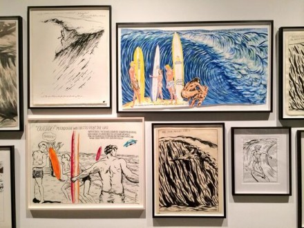 Raymond Pettibon, Are Your Motives Pure?' Surfers 1985-2013 (Installation View), via Art Observed