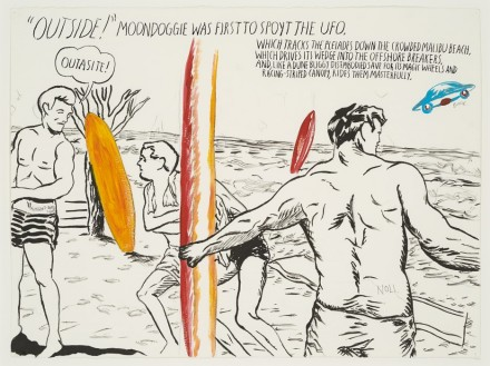 "Raymond Pettibon, No Title (Outside! moondoggie was)"" (2013), via Venus Over Manhatta"