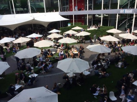 A shot from above the food court at Messe Basel, via Art Obserfved