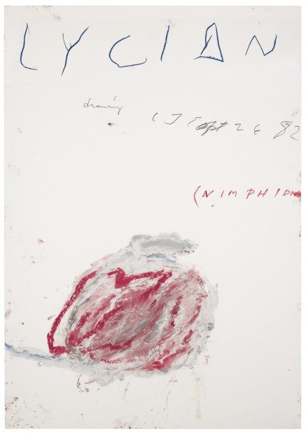 Cy Twombly, Lycian Drawing (Nimphidia) (1982), via Sotheby's