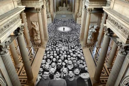 JR, Au Panthéon! (2014) interior, All Images Courtesy of the Artist