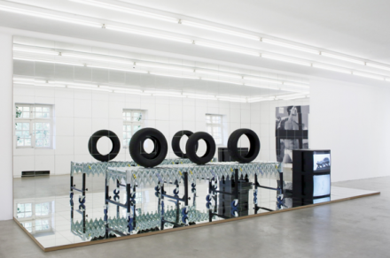 "Josephine Meckseper, ""Auto Assembly Line to Slow it Down"" (2009) via Andrea Rosen"