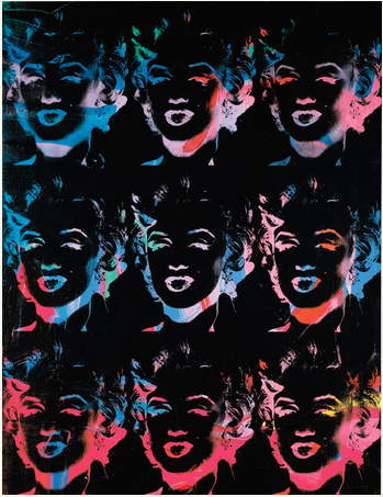 Andy Warhol, Nine Multicoloured Marilyns (Reversal Series), via Sotheby's