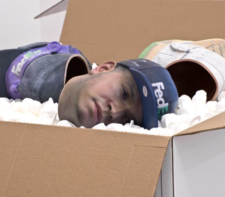 Josh Kline, No Sick Days (Fedex Worker's Head with Fedex Cap) (2014)