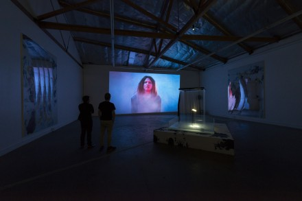Korakrit Arunanondchai (feat. boychild), Letters to Chantri #1: The lady at the door/The gift that keeps on giving (Installation View) at The Mistake Room, Los Angeles, 2014. Photo Credit: Josh White/JW Pictures.