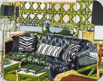 Mickalene Thomas, Interior - Black Couch with Zebra Pillows (2013)