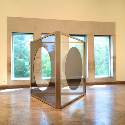 Dan Graham, Triangular Solid with Circular Cutouts, Variation K (2011-2014)