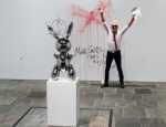 Istvan Kantor after his vandalism at The Whitney, via Artnet