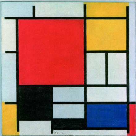 Piet Mondrian, Composition with Large Red Plane, Yellow, Black, Gray and Blue (1921), Collection Gemeentemuseum Den Haag. © 2014 Mondrian:Holtzman Trust c:o HCR International