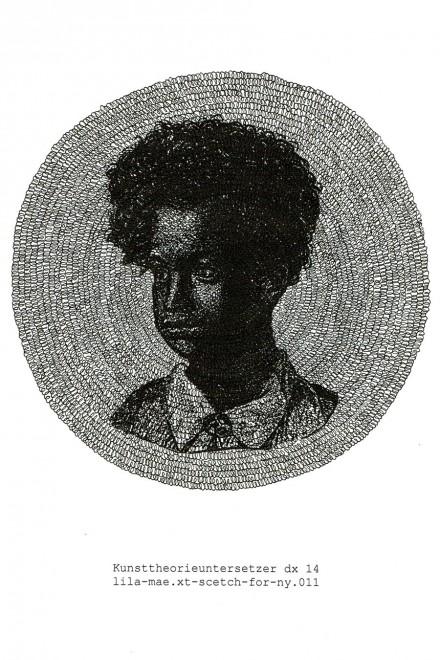 "Manfred Kirschner, ""Kunsttheorieuntersetzer: Lila-Mae"" (""Art Theory Coaster: Lila-Mae"") )2014)"