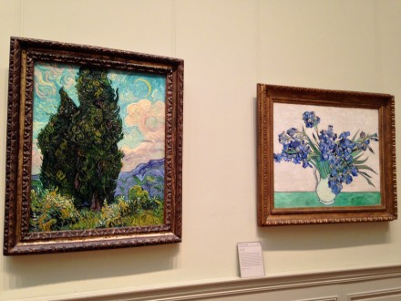 Vincent Van Gogh, Cypresses, 1889, and Irises, 1890, via Art Observed