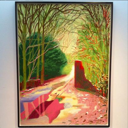 David Hockney, The Arrival of Spring in Woldgate, East Yorkshire in 2011 (2011), via Art Observed