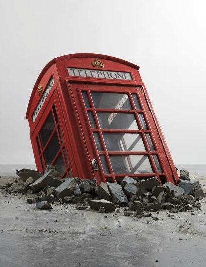 Banksy, Submerged Phone Booth (2006), via Art Observed