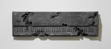 Daniel Arsham, Obsidian Edorded Keyboard (2014), via Perrotin