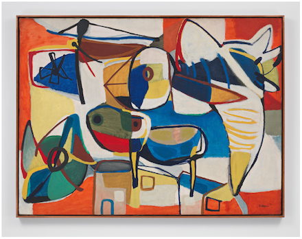 Karel Appel, Big Bird Flying Over the City (1951), all images courtesy Blum & Poe