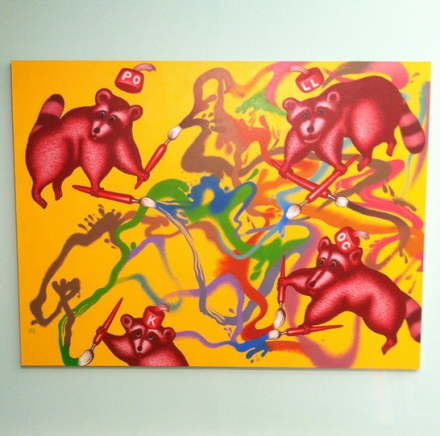 Peter Saul, Raccoons Paint a Picture (2011-2012) via Art Observed