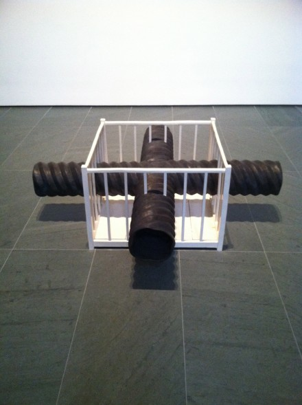 Robert Gober, X-Pipe Playpen (2013-2014), via Art Observed
