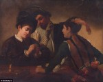 the Disputed work, a duplicate or other edition of Caravaggio's The Cardsharps, via Daily Mail