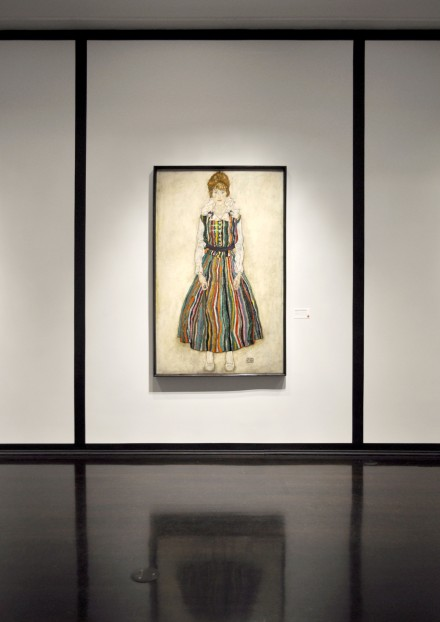 Egon Schiele, Portrait of the Artist's Wife, Standing (Edith Schiele in Striped Dress (1915)