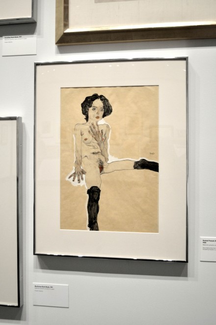 Egon Schiele, Seated Female Nude with Black Stockings (1910)
