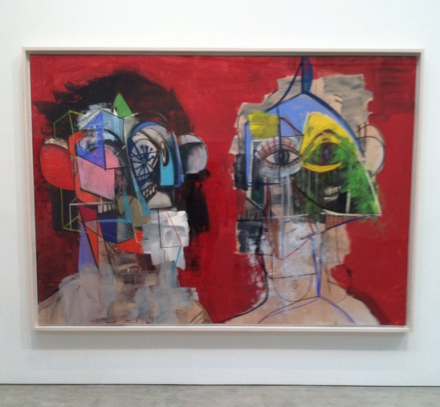 George Condo, Double Heads on Red (2014), via Art Observed