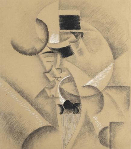 Gino Severini, Etude pour Autoportrait au canotier (1913), via Christie's