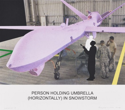 John Baldessari, The News Person Holding Umbrella (2014), via Gemini GEL