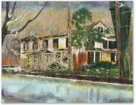 Peter Doig, Pine House (Rooms for Rent) (1994), via Christie's