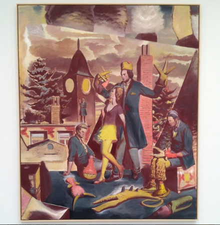 Neo Rauch, Über den Dachern  (2014), via Art Observed