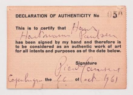 Piero Manzoni, Declaration of Authenticity No. 50 (Carte d'authenticite No. 50) (1961), via Andrea Rosen