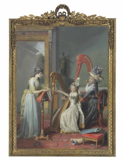 Jean Antoine Théodore Giroust, Mademoiselle D'orléans Taking A Harp Lesson, via Christie's