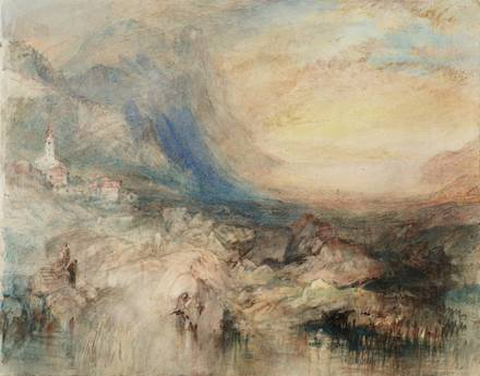 Goldau, with the Lake of Zug in the Distance: Sample Study circa 1842-3 by Joseph Mallord William Turner 1775-1851