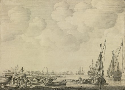 Willem Van De Velde The Elder, Dutch Harbor In A Calm With Small Vessels Inshore, via Sotheby's