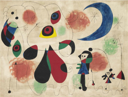 Joan Miró, Painting (Women, Moon, Birds) (1950), via Christie's
