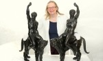 Victoria Avery with the Michelangelo Bronzes, via The Guardian