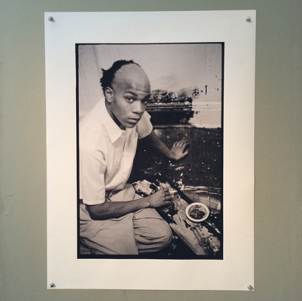 A photo of Jean-Michel Basquiat from the Alexis Adler Archive at Spring Break, via Art Observed