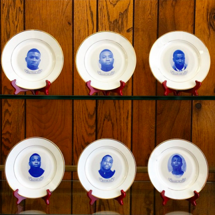 Gucci Mane Dinner Plates by Akiziwe Mohammed at Spring Break, via Art Observed