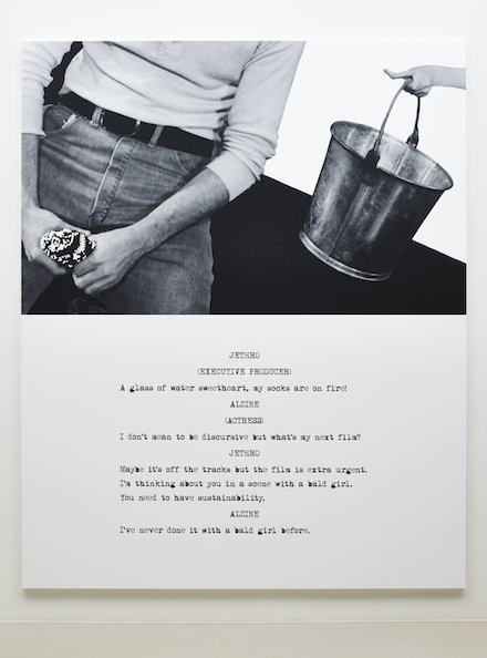 John Baldessari_Pictures & Scripts_Marian Goodman Gallery_A glass of water sweetheart, 2015