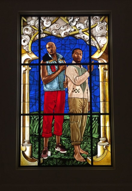 Kehinde Wiley, Arms of Hugo von Hohenlanderberg as Bishop of Constance with Angel Supporters (2014)
