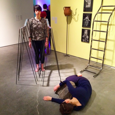 Performers at Eva Kotatkova's installation, via Art Observed